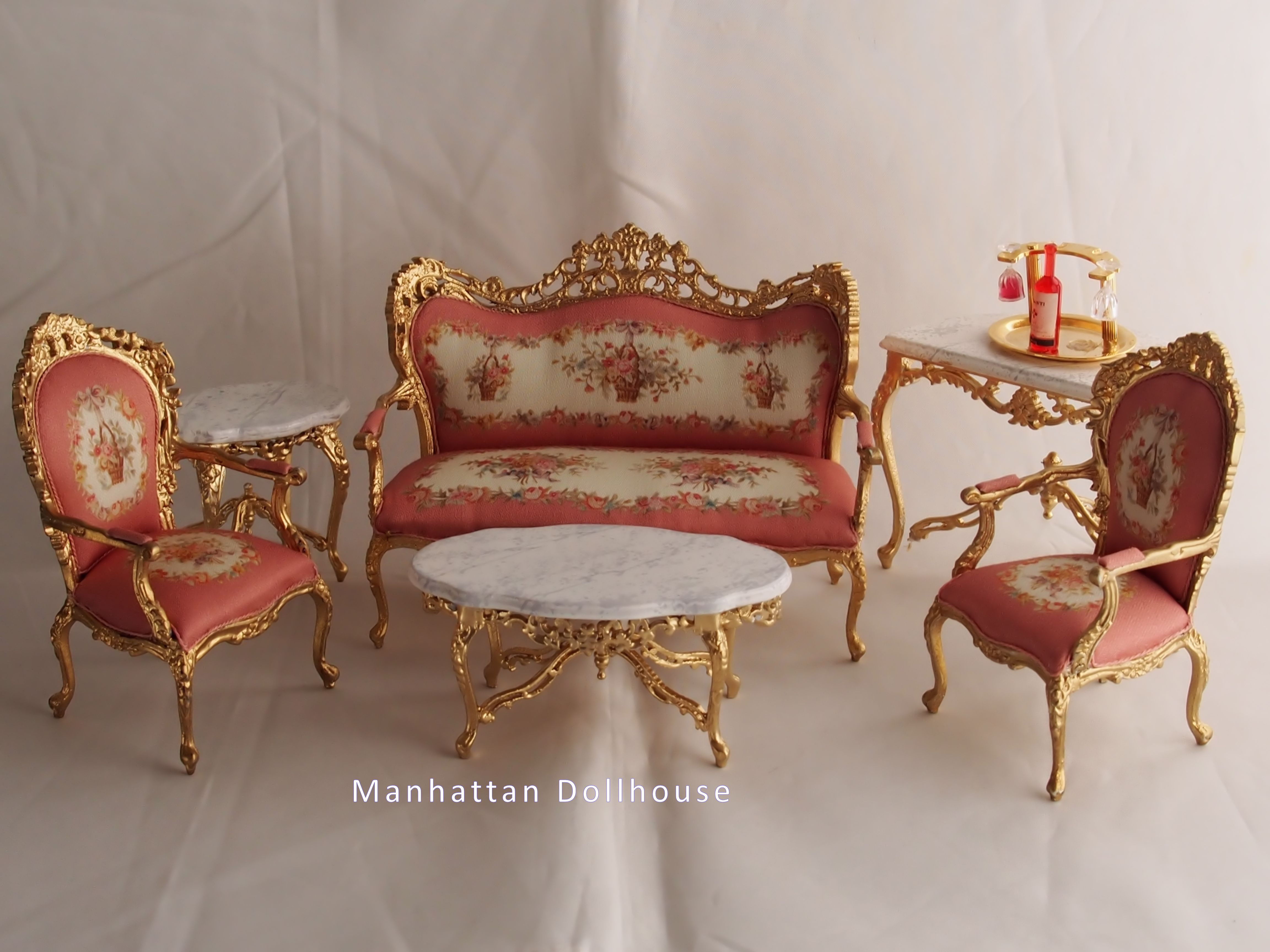 Bespaq Charlotte Living Room Set in Gold & Pink [2795] - $329.00 ...