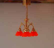 Ceiling Light Brass Finish C7 with Orange Shades