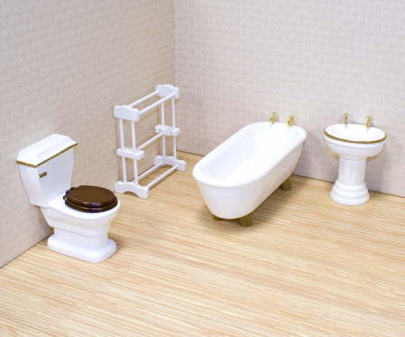 Victorian Dollhouse Bathroom Set Click To Enlarge