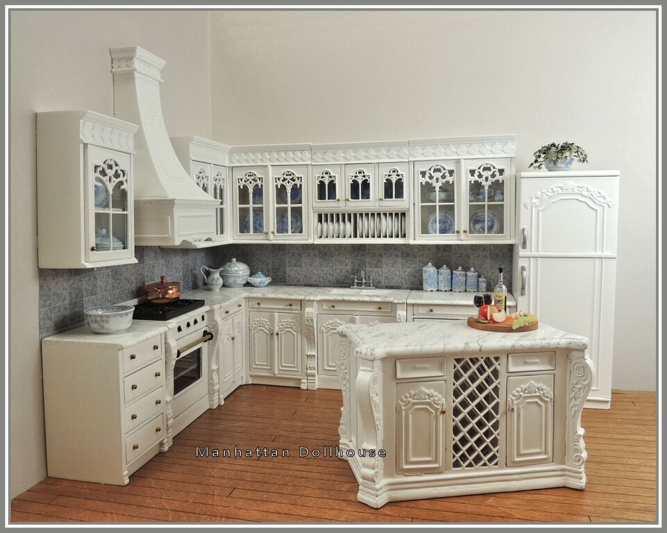 bespaq chef julia's kitchen in white - $545.00 : manhattan dollhouse