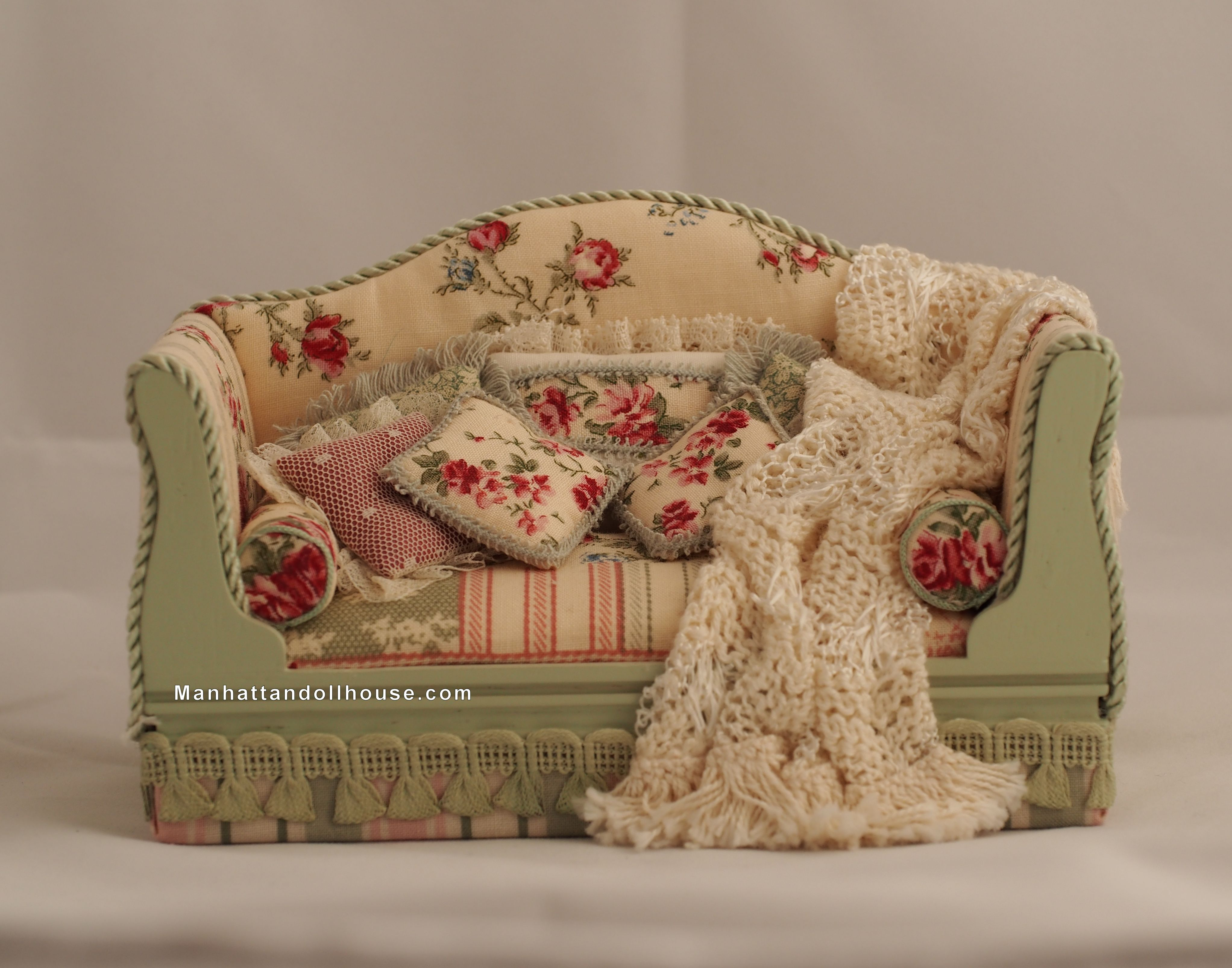 Shabby Chic Dollhouse Couch In Pink And Green Click To Enlarge