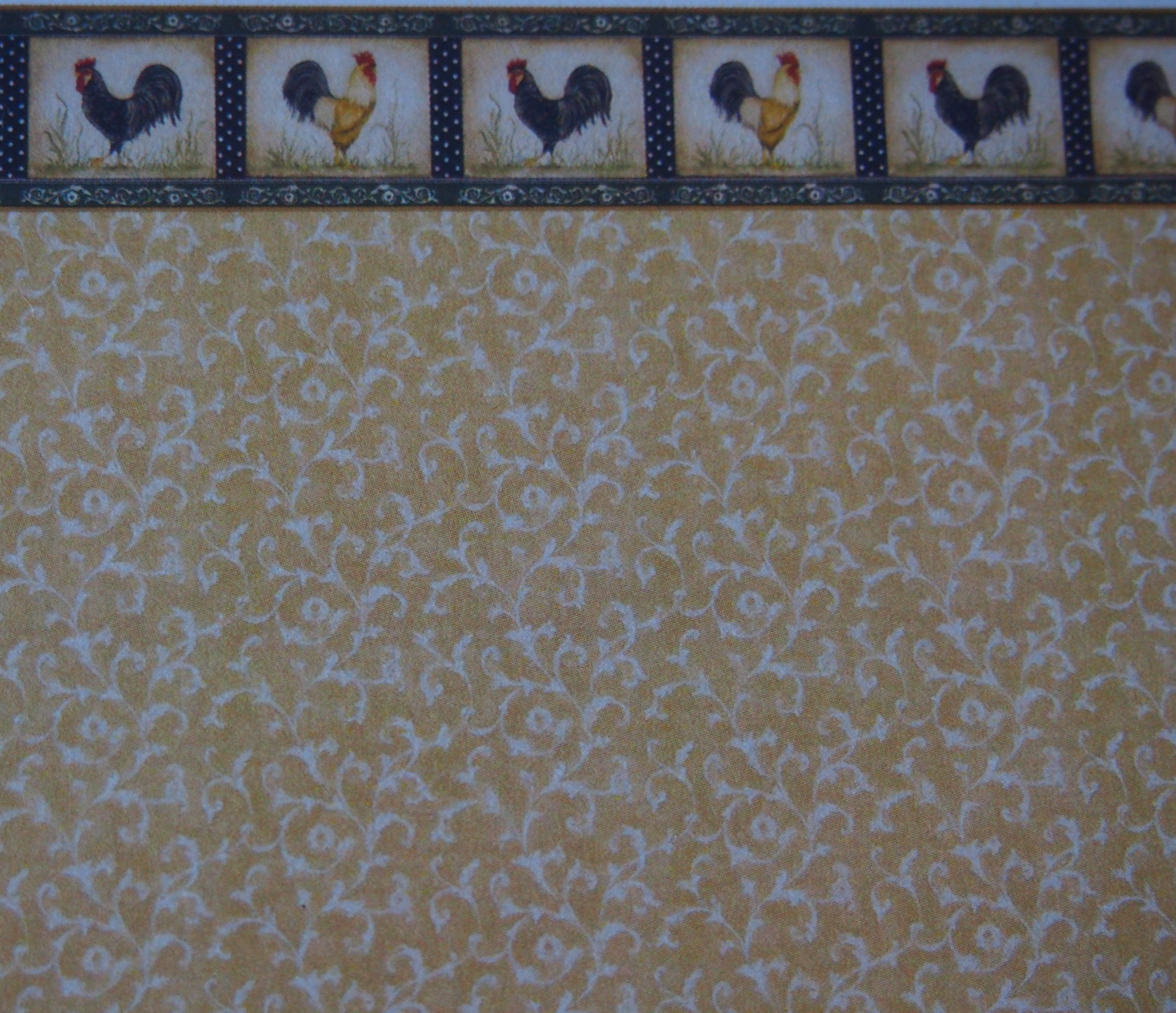 half inch dollhouse wallpaper with rooster border [590a] - $3.00