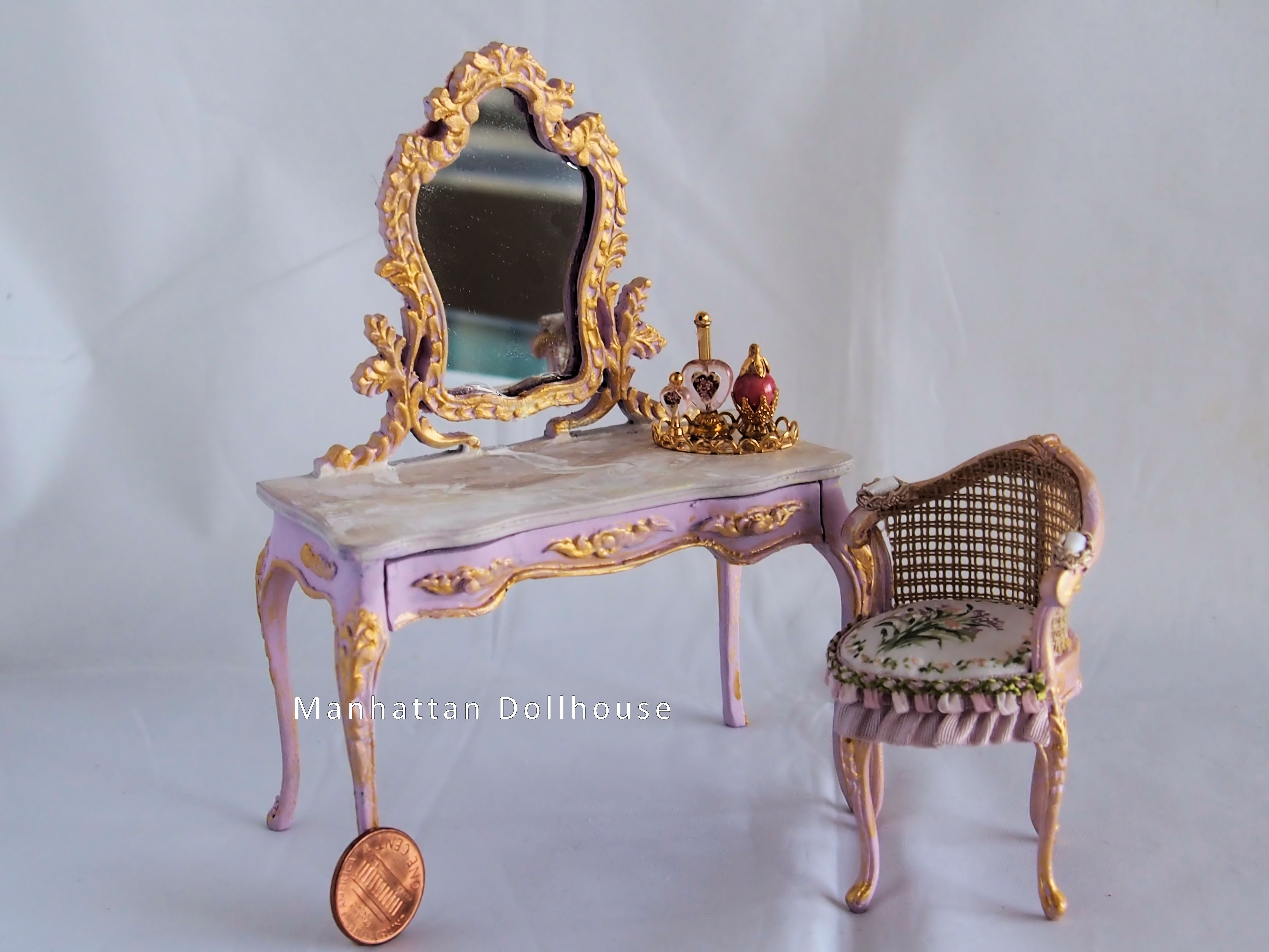 Miniature La s Vanity Table and Chair Set from Spain $275 00