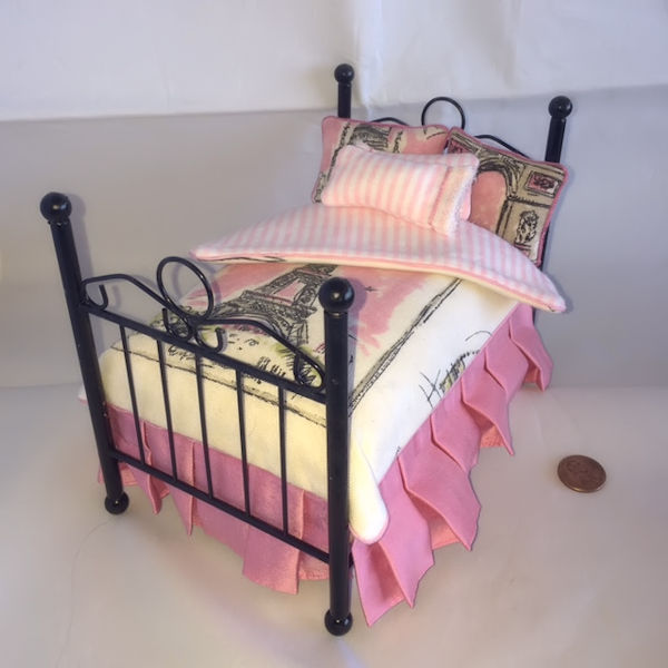 Miniature Dollhouse French Style Bed With Side Chair Click To Enlarge