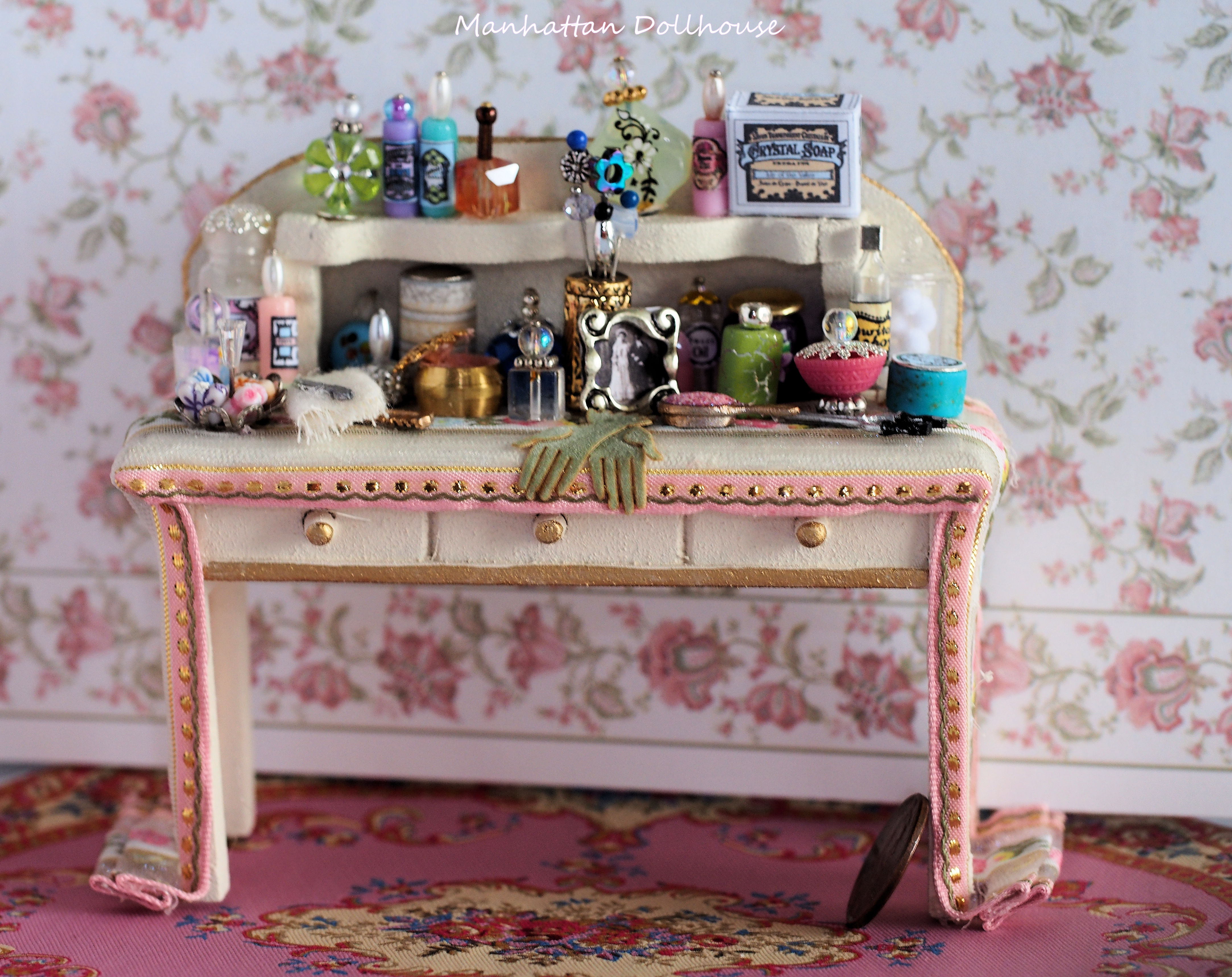 Miniature Vanity Dressing Table In Pink Click To Enlarge
