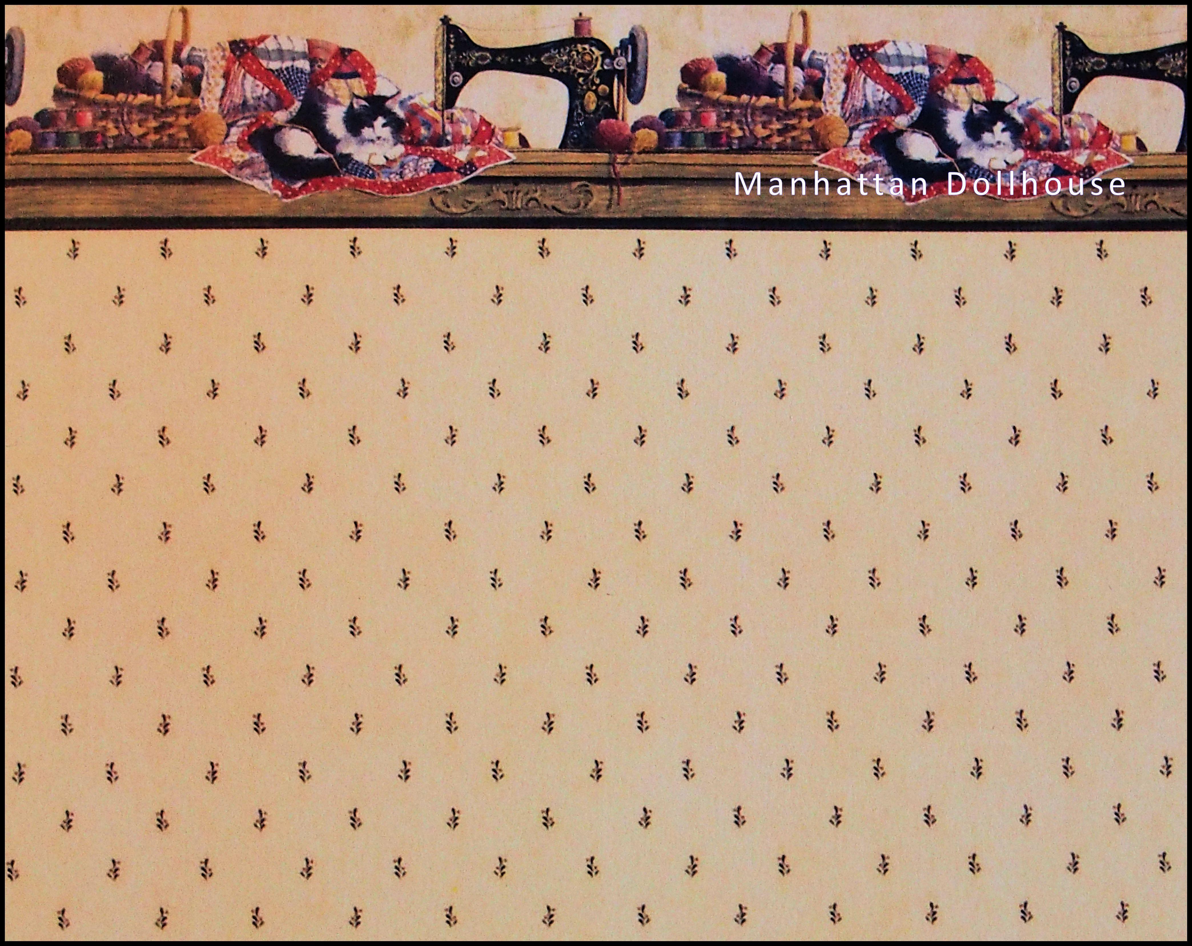 sewing room wallpaper 612a [612a] - $4.00 : manhattan dollhouse