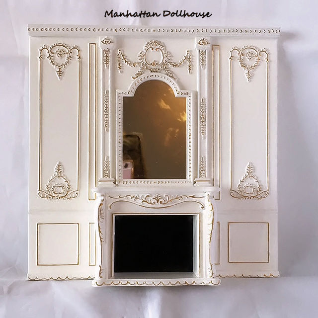 Fancy White Wall Unit with Fireplace - $110.00 : Manhattan Dollhouse ...
