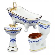 Dollhouse Blue Flower Bathroom Set-3 Pieces