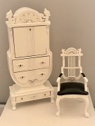 Miniature White Desk & Chair
