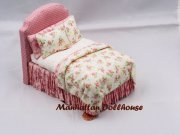 Pink Padded Dollhouse Bed by Lorraine Scuderi