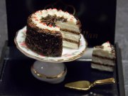 Dollhouse Miniature Black Forest Cake Set