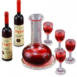Miniature Wine Decanter set with Glasses and Bottles