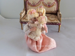 Mother and Her Two Girls-Dollhouse Dolls 1:12 Inch Scale