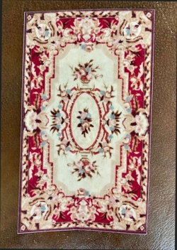 Small Miniature Rectangle Rug, Red and Cream