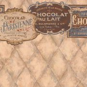 French Chocolate Dollhouse Wallpaper with Border 599B