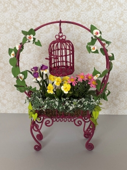 Maroon Bird Cage Planter with Flowers
