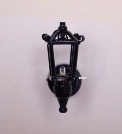 Black Dollhouse Coach Lamp with Amber Light W2