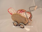 Miniature Wicker Baby Stroller/Carriage