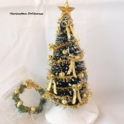 Christmas tree w/wreath-Gold