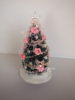 Pretty Decorated Miniature Christmas Tree in Pink