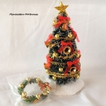 Decorated Christmas tree w/wreath-Bells