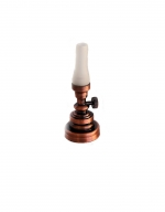 Copper Hurricane Table Lamp with Frosted Shade T12F