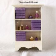 Bathroom cabinet w/towels and accessories-Lavender