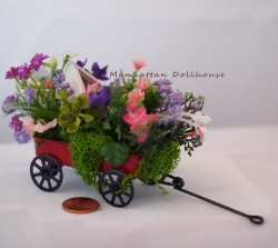 Miniature Wagon with Pretty Flowers and Bird House