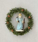 Holiday Wreath with Religious Figurine
