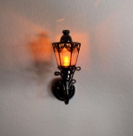 Wall Lamp Black Finish with Amber Bulb W9A