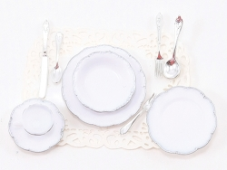 Dollhouse Single Place Setting with Silver Trim