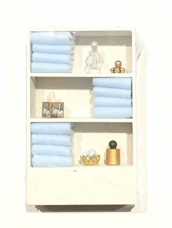 Dollhouse Miniature Cabinet with Accessories-Blue Towels