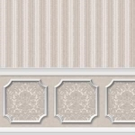 Annabelle Wainscot in Silver and Gray -Dollhouse Wallpaper