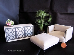 Modern Miniature Lusso Chair and Ottoman