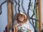 Miniature Trellis with Grapes, Doll, Bench and Flowers