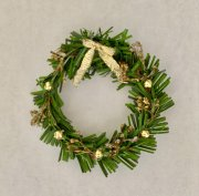 Holiday Wreath with Gold Bow