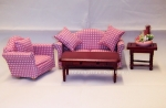 Dollhouse Miniature Pink Plaid Living Room Set