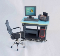 Dollhouse Miniature Computer Desk with Accesories