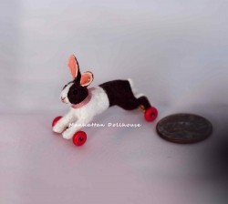 Dollhouse Miniature Rabbit on Wheels