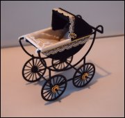 Black Fabric Baby Carriage