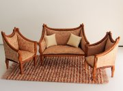 Bespaq Italia New Walnut Sofa 3 Piece Handcarved Set