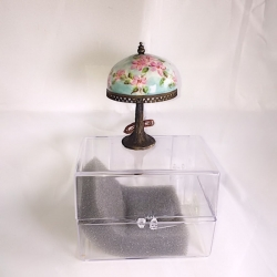 Soft Turquoise and Rose Miniature Table Lamp