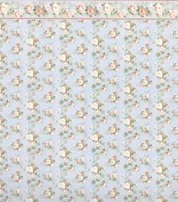 Blue and Rose Wallpaper with Border