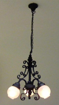 Black 3-Arm Filigree Chandelier