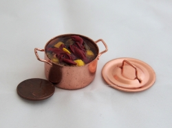 Miniature Lobster Fest in a Copper Pot with Lid