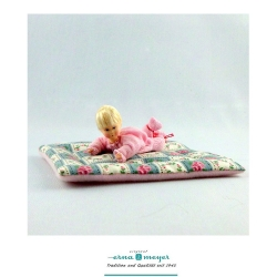 Dollhouse Baby Doll on Patchwork Blanket