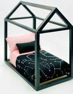 Doll House Minature Child's/Youth Bed, Black House Frame