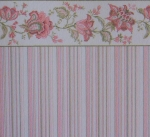 Striped Dollhouse Wallpaper with Flower Border