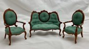 Bespaq - 3pc set TEAL Sofa & 2 Arm Chairs MH