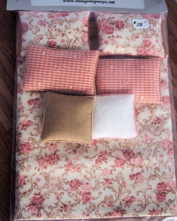 Pink Floral and Plaid Miniature Bed Cover
